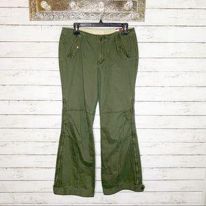 Vintage Y2K Tommy Hilfiger Green Flare Cargo Pants